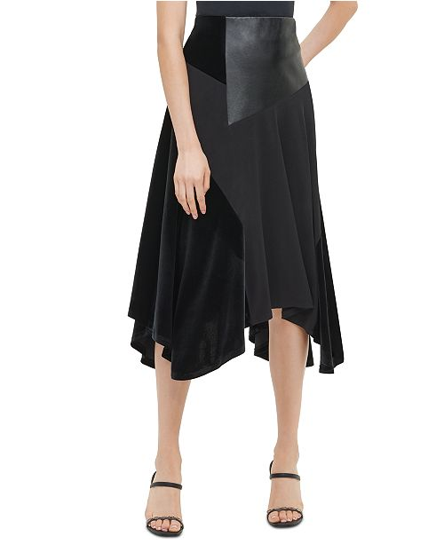 Calvin Klein Mixed-Media Handkerchief-Hem Skirt