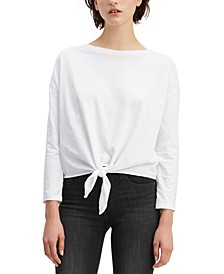 Women's Tie-Front Long-Sleeve Cotton T-Shirt