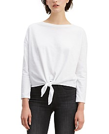 Levi's® Tie-Front Long-Sleeve Cotton T-Shirt