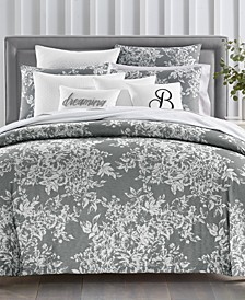 CLOSEOUT! Woven Floral Cotton 300-Thread Count 2-Pc. Twin Duvet Set, Created for Macy's