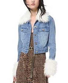 Faux-Fur-Trim Denim Jacket