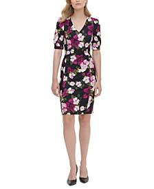 Printed Puff-Sleeve Sheath Dress