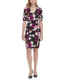 Calvin Klein Printed Puff-Sleeve Sheath Dress