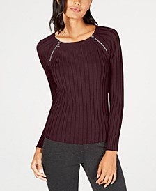 INC Zipper-Detail Raglan Sleeve Sweater, Created for Macy's