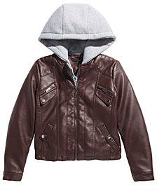 Jou Jou Big Girls Layered-Look Hoodie Moto Jacket