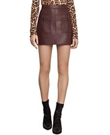BCBGMAXAZRIA Faux-Leather Mini Skirt