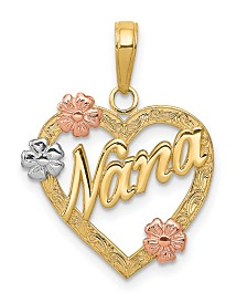 Nana Heart and Flowers Pendant in 14k White, Yellow and Rose Gold