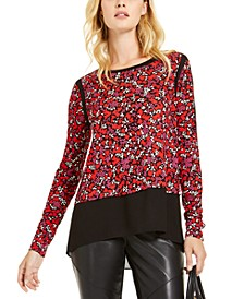 Chiffon-Hem Printed Top, Regular & Petite Sizes