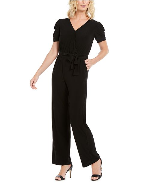 NY Collection Petite Puff-Sleeve Jumpsuit