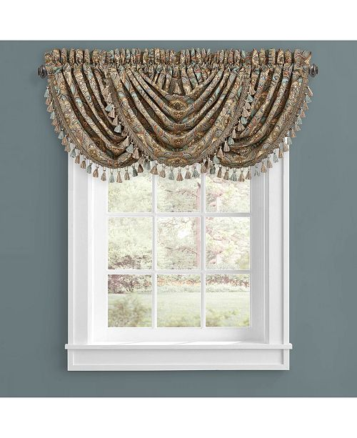 J Queen New York Victoria   Turquoise Turquoise Window Waterfall Valance