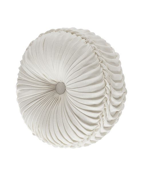 J Queen New York Lauralynn White Tufted Round Decorative Throw Pillow