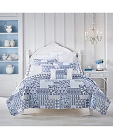 Tessa Navy Full/Queen 3pc. Quilt Set