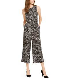 Michael Michael Kors Animal-Print Cropped Jumpsuit, Regular & Petite