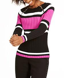 INC Striped Zipper Sweater, Created For Macy's