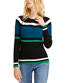 INC Petite Stripe Zipper Sweater, Created for Macy's