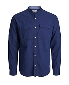 Jack & Jones Men's High Summer Long Sleeved Mandarin Collar Shirt
