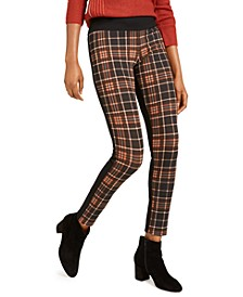 INC Petite Plaid-Front Skinny Pants, Created For Macy's