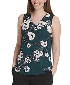 Petite Floral-Print Sleeveless Top