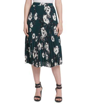 Floral-Print Pleated Midi Skirt