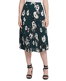 Petite Pleated Printed Midi Skirt