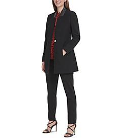 Collarless Topper Jacket, Animal-Print Pleated Top, & Essex Pants