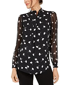Printed Semi-Sheer Sleeve Top