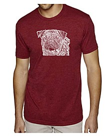 Men's Premium Word Art T-Shirt - Pug Face