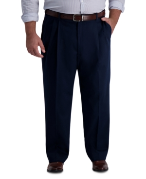 1940s Trousers, Mens Wide Leg Pants Haggar Mens Big  Tall Iron Free Premium Khaki Classic-Fit Pleated Pant $39.99 AT vintagedancer.com