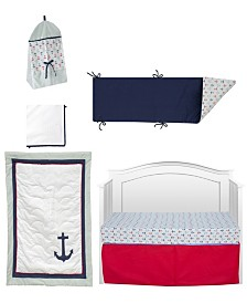 Pam Grace Creations Anchors Away Nautical 6 Piece Crib Bedding Set