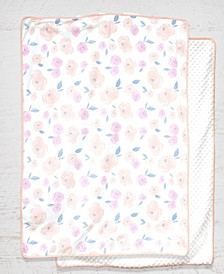 Water Color Floral Rose Baby Blanket