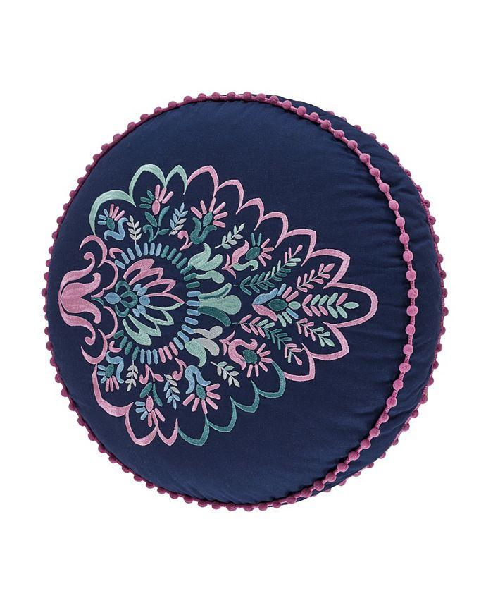 J Queen New York - Kayani Indigo Round Decorative Throw Pillow