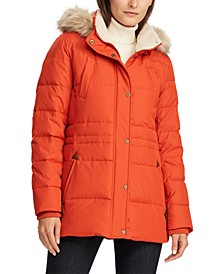 Faux-Fur-Trim Hooded Down Jacket, Created for Macy's