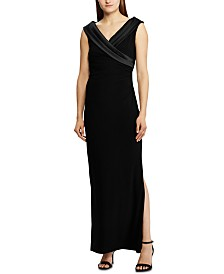 Lauren Ralph Lauren Crepe Off-the-Shoulder Gown, Created For Macy's