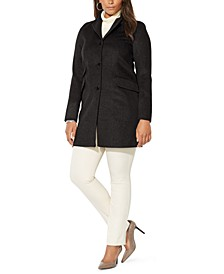 Plus Size Reefer Wool Coat, Created for Macy's
