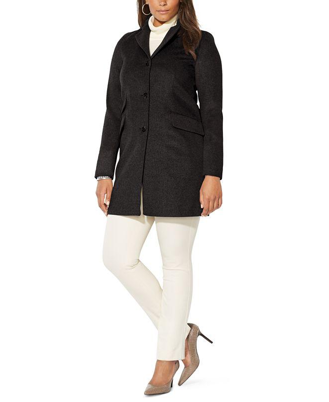 Lauren Ralph Lauren Plus Size Reefer Wool Coat, Created for Macy's