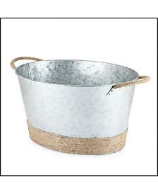Twine Seaside Jute Rope Wrapped Galvanized Tub