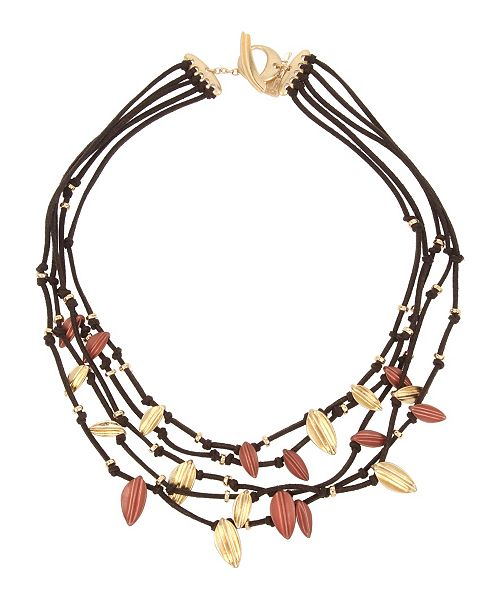 Robert Lee Morris Soho Sculptural Leaf Multi Row Leather Necklace