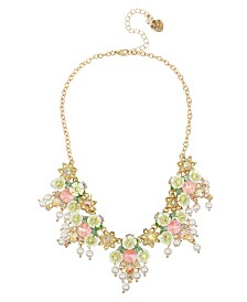 Betsey Johnson Mixed Flower & Stone Cluster Necklace
