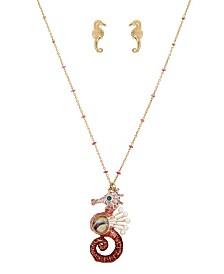 Betsey Johnson Sea Horse Pendant & Stud Earrings Set