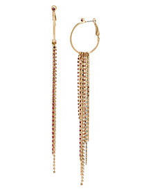 BCBGeneration Hoop & Mixed Chain Fringe Earrings