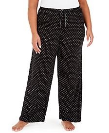 Plus Size Dot-Print Pajama Pants
