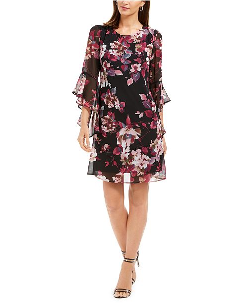 Connected Floral-Print Bell-Sleeve Dress