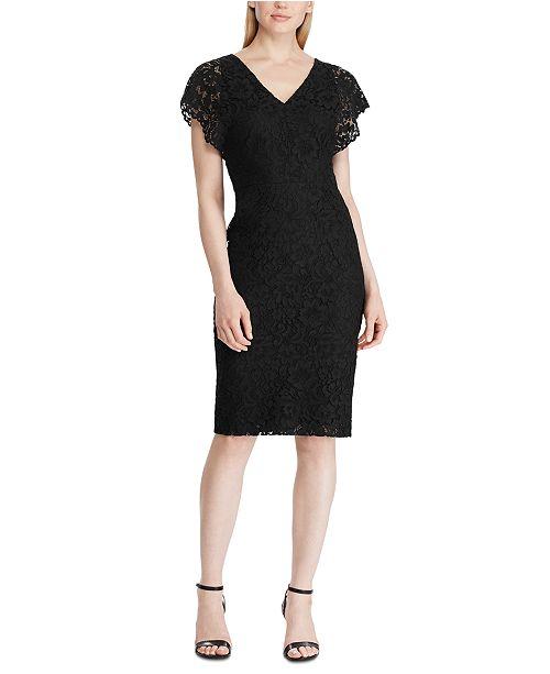 Lauren Ralph Lauren Scalloped Floral Lace Dress