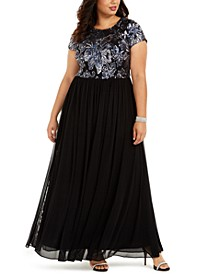 Plus Size Embellished-Bodice Gown