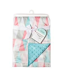 Baby's First by Nemcor Reversible Baby Blanket, Pink Triangles