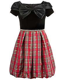 Big Girls Plus Size Bow-Front Plaid Bubble Dress