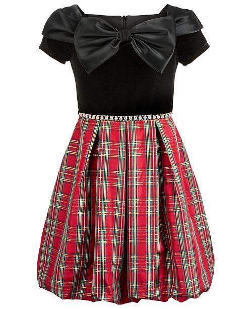 Big Girls Plus Size Bow-Front Plaid Bubble Dress