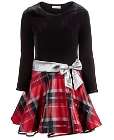 Big Girls Velvet Plaid Dress