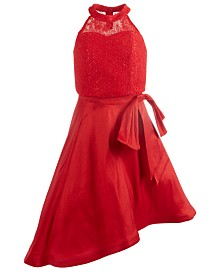 Sequin Hearts Big Girls 2-Pc. Lace Top & Asymmetrical Skirt Set