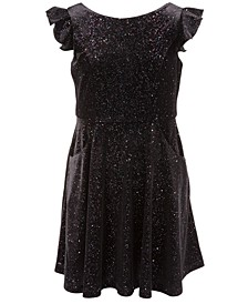 Big Girls Velvet Glitter Dress